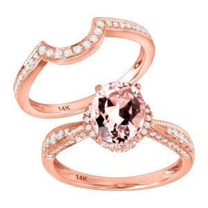 1 3/4 ct Morganite & 3/8 ct Diamond Ring
