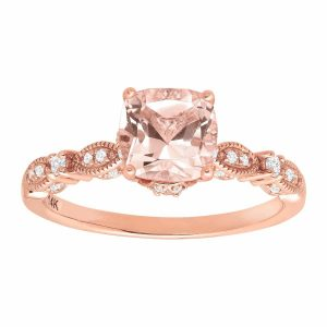 1 1/2 ct Morganite & 1/5 ct Diamond Ring