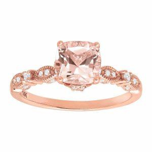 1 1/2 ct Morganite & 1/5 ct Diamond Ring