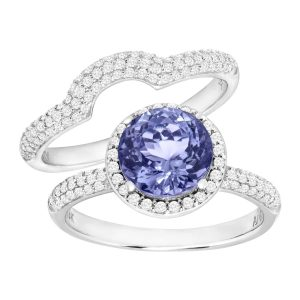1/4 ct Tanzanite & 5/8 ct Diamond Ring Set