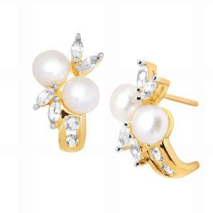 Pearl & 1/2 ct White Sapphire 'J' Earrings