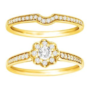1/2 ct Diamond Floral Bridal Set