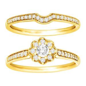 1/2 ct Diamond Floral Bridal Set